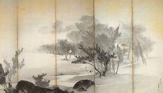 Detail. 円山応挙の'秋月雪峡図屏風'(1786). Maruyama Okyo. Snowy Gorge. Japanese folding screen. Eighteenth century.