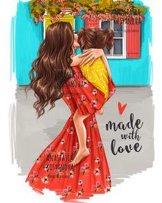 Este posibil ca imaginea să conţină: unul sau mai mulţi oameni şi text Mother Daughter Art, Mother Art, I Love My Daughter, Kawaii 365, Sarra Art, Girly M, Canvas Art Quotes, Cute Girl Drawing, Girly Drawings