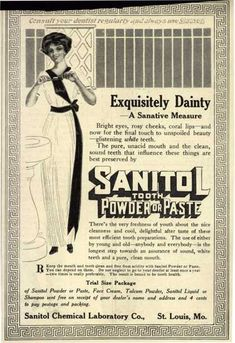 Sanitol Chemical Laboratory Company's Sanitol Tooth Powder or Paste – Exquisitely Dainty (1912)