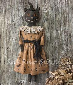 Primitive Halloween Black Cat Doll, Autumn Decor, Primitive Folk Art, Cat Doll, Rock River Stitches