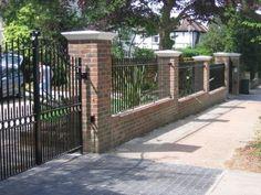 Resultado de imagen de brick wooden fence and electric gates