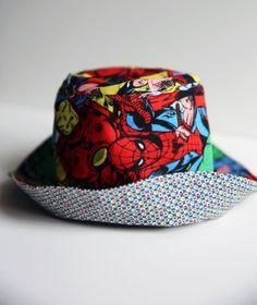Avengers and DS Quilts MiniDot Reversible Bucket Hat - Size MEDIUM Kids Bed  Linen 7d9ef0ea346