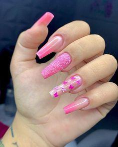 Bling Acrylic Nails, Best Acrylic Nails, Chic Nails, Trendy Nails, Barbie Pink Nails, Camouflage Nails, Nail Salon Design, Cute Spring Nails, Cute Acrylic Nail Designs