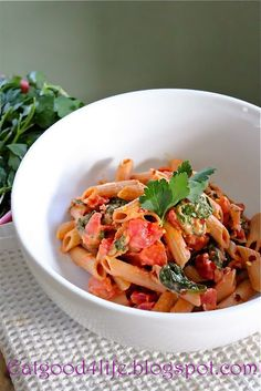 Pasta with Creamy tomato sauce and spinach