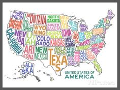 United States of America Stylized Text Map Colorful Posters sur AllPosters.fr