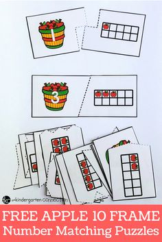 Apple Ten Frame Puzzles for Kindergarten! These puzzles are a great way for kindergarten students to practice recognizing numbers this back to school season. These self-correcting puzzles are great for centers, morning work or small groups. Kindergarten Centers, Preschool Math, Math Centers, Kindergarten Apples, Kindergarten Freebies, Kindergarten Classroom, Classroom Ideas, Ten Frame Activities, Preschool Activities