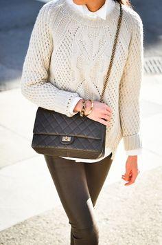 Cashmere sweater - Massimo Dutti   Blouse - Taylor Stitch   Leather pants - Balenciaga   Bracelets - J.Crew & Club Monaco  Purse - Chanel   Heels - Stella McCartney