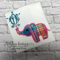 Elephant Applique Frame Embroidery Designs. Monogram not included.