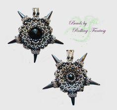 """Anhänger """"Stern"""" in schwarz - silber aus Perlen von Beads by Rolling-Fantasy auf DaWanda.com"""