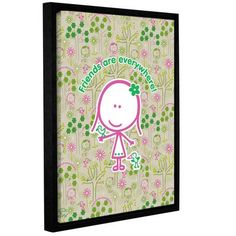 ArtWall Friends by F(Felittle) Kamriana Framed Graphic Art on Wrapped Canvas Size: