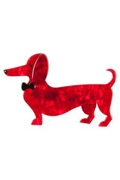 Spiffy the Sausage Dog is a stylish canine indeed with his smart looking bow tie and regal air, he'll win your heart for sure. Dachshund, Brooches, Sausage, Dinosaur Stuffed Animal, Patches, Sewing, Dogs, Shirt, Painting
