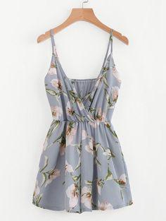 861a95ba73ec ROMWE - ROMWE Surplice Neckline Random Florals Cami Romper - AdoreWe.com  Cute Dresses