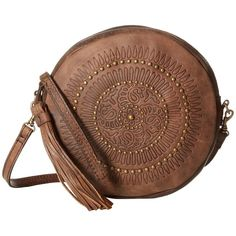 Patricia Nash Giovanna Round Wristlet (Chocolate) Wristlet Handbags ($129) ❤ liked on Polyvore featuring bags, handbags, clutches, brown leather purse, leather purses, man bag, leather man bags and brown leather handbags