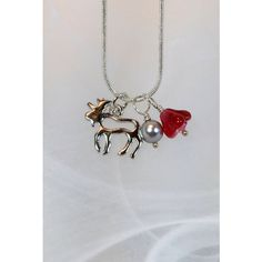 Necklace moose charm with glass bead, faux pearl and small crystal ($25) ❤ liked on Polyvore featuring jewelry, pendants, beaded jewelry, crystal charms, charm jewelry, crystal beads jewellery and glass bead jewelry