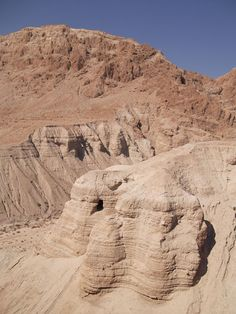 Caves at Qumran, Israel, where the Dead Sea Scrolls were discovered.