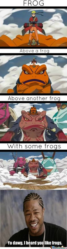 naruto on a frog on a frog on a frog with frogs