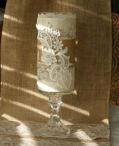 burlap and lace wedding decorations by grandlion