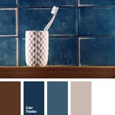 Brown adds contrast to combination of blue and gray shades with white color. This color composition is suitable for office or reception design, men's classic business suit, in-between-season garment of free cut.