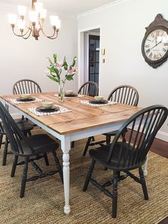 Farmhouse table plans & ideas find and save about dining room tables . See more ideas about Farmhouse kitchen plans, farmhouse table and DIY dining table Farmhouse Table Plans, Farmhouse Dining Room Table, Diy Dining Table, Rustic Kitchen, Dining Table Decor Everyday, White Farmhouse Table, Farmhouse Tabletop, Kitchen Decor, Kitchen Table Chairs