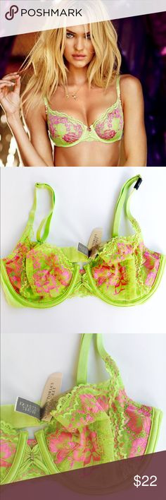 VS Rhinestones Lacey Floral Unlined Bra Victoria's Secret Green / Pink Floral Lacey UNLINED Bra!                                                                                      Great Underwire Support !                                                 Soft Bands!                                                              🌸New with Tags!                                                    🌸Bundle and Save!                                              🌸Price Firm! Victoria's Secret…