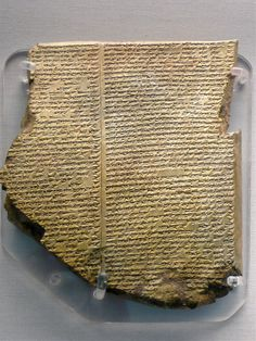 The Flood Tablet, relating part of the Epic of Gilgamesh, From Nineveh, northern Iraq, Neo-Assyrian, 7th century BC, most famous cuneiform tablet from Mesopotamia, at the British Museum, London. Photo taken by Jessica Spengler.  I would never have realized this is language!
