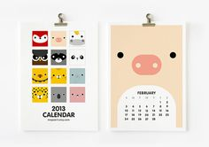 2013 Calendar Cute Animal by loopzart on Etsy