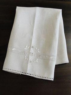 Vintage Italian Linen Hand Towel with Embroidery from breadandbutter on Ruby Lane