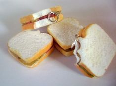 Peanut Butter Jelly Sandwich Charm/Scented Miniature Food/Dessert Jewelry/Miniatures/Mini Food/Polymer Clay Charms via Etsy