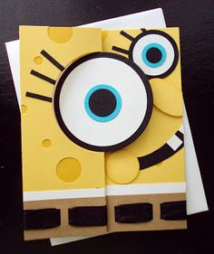 handmade card: Stampin Up Thinlits Circle card - Sponge Bob . Stampin Up Karten, Stampin Up Cards, Flip Cards, Folded Cards, Kids Cards, Baby Cards, Swing Card, Punch Art Cards, Shower Bebe