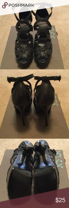 "NIB N.Y.L.A. Sandals Genuine leather upper with adjustable ankle strap.  1½"" platform and 5¼"" stiletto heel.  Never been worn.  True to size.  Please feel free to request additional information and pictures. N.Y.L.A. Shoes Heels"