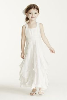 Fun and flowing flower girl dress is perfect for the little one on your special day!  Ruched tankstraps bodice is adorable and sweet.  Tea-length ruffled skirt is youthful andsuper comfortable.  Ivory and White is available online and by special order only in stores.  Coordinates with Galinabridal gown Style 9PK3218.