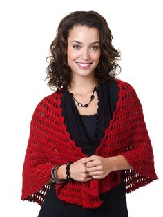 Free Pattern - This rich shawl is a dramatic addition to your wardrobe. #crochet #shawl