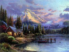 Thomas Kinkade Loon Lake Cross Stitch Pattern LOOK