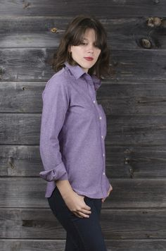 Cole Valley   Chambray Button-down Shirt for Women   $127.00   Lavender woven chambray Gently tailored and relaxed fit No pleats for easy ironing Double stitched pearlized buttons 100% mid-weight cotton Single needle stitching  Interior French seam  Bias cut pocket and placket Gusset reinforces stitching at hip Designed and sewn in San Francisco  Available in sizes xs - xl