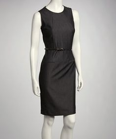 Take a look at this Black Belted Dress by Sandra Darren & Sharagano on @zulily today!