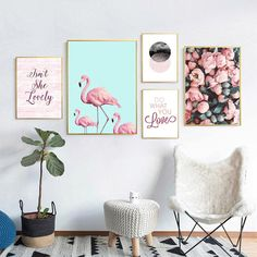 Posters And Prints Flamingo Nordic Wall Pictures For Living Room Cuadros Canvas Art Flower Wall Art Canvas Painting Unframed - Pin Decor Living Room Pictures, Wall Art Pictures, Painting Pictures, Framed Wall Art, Canvas Wall Art, Canvas Frame, Tableau Design, Home Decoracion, Modern Canvas Art