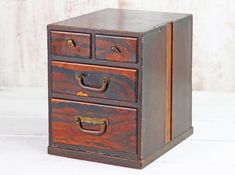 This small Japanese chest of drawers is the perfect safe space for your jewellery collection or perhaps favourite trinkets. Vintage Bench, Vintage Chairs, Vintage Furniture, Home Furniture, Hallway Storage, Cupboard Storage, Box Bedroom, Japanese Furniture, Jewelry Chest
