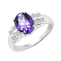 USA Sterling Silver Amethyst and White Topaz Ring