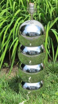 Vintage Eames Kovacs Era Mid Century Modern Stacked Chrome Balls Table Lamp