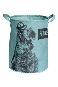 Cylindrical storage basket in thick fabric with a printed motif. Reinforced upper edge and two handles. Diameter 11 in., height 15 in. Large Storage Baskets, Storage Bins, Dinosaur Room Decor, H&m Home, Girl House, Nursery Inspiration, Nursery Ideas, H&m Fashion, Home Collections