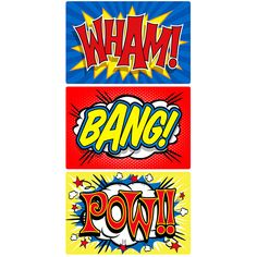 Wham Bang Pow Comic Sound Effects Wall Decals Set