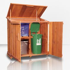 Cedar Shed latch Garbage Can Shed, Garbage Can Storage, Garage Storage, Cedar Shed, Outdoor Rooms, Outdoor Decor, Recycling Bins, Porch Ideas, Outdoor Storage