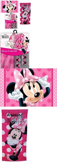 bath 115624: 15pc disney minnie mouse shower curtain hooks rug
