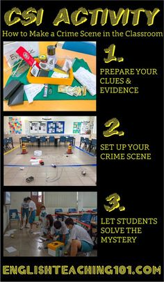 CSI Activity - How to set up a crime scene in the classroom! You can use this activity as an introduction to a bigger mystery-themed unit, but this also works well as a stand alone lesson! School Classroom, Classroom Themes, Classroom Activities, Library Activities, Classroom Rules, Science Classroom, Science Lessons, Science Activities, Life Science