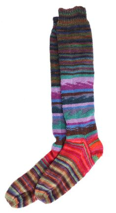 Multi-coloured Handknitted Socks - another option to use up part skeins of sock yarn