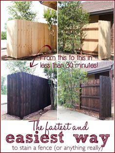 Wooden Fence Paint or Stain Unique the Fastest and Easiest Way to Stain A Wood Fence Staining Wood Fence, Painted Wood Fence, Fence Stain, Brick Fence, Front Yard Fence, Farm Fence, Diy Fence, Cedar Fence, Backyard Fences