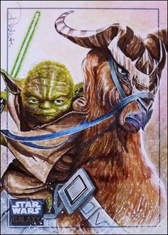 Yoda & Kybuck, one of my fav from my set realistic version of the famous clone wars duet Star Wars Galaxy 6 official card, pack inserted licensed. Yoda and Kybuck Star Wars Art, Star Trek, Clone Wars, Geek Stuff, Fun Stuff, Pop Culture, Sci Fi, Deviantart, Fantasy