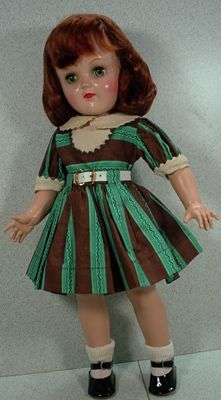 "Ideal 16"" Toni Doll, P91, with Red Hair and Rare Dress, 1949!   ///   mine is a blonde, with red plaid dress"