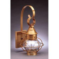 Northeast Lantern Onion 1 Light Outdoor Wall Lantern Finish: Raw Brass, Shade Type: Clear Seedy