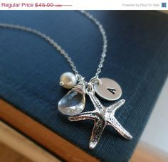 ON SALE Personalized starfish necklace Bridesmaid by BriguysGirls, $38.25